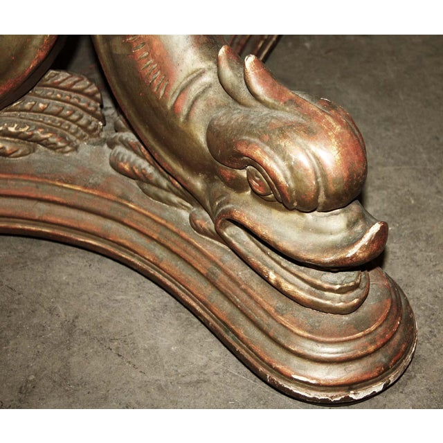 Traditional 19th Century Solid Wood Carved Table Base With Gold Gilt For Sale - Image 3 of 9