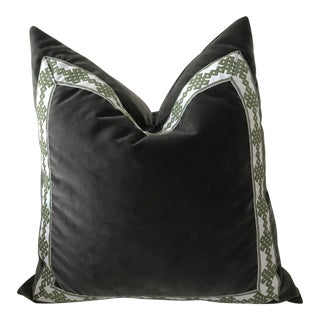 Traditional Lacefield Designs Grey Velvet Pillows - a Pair