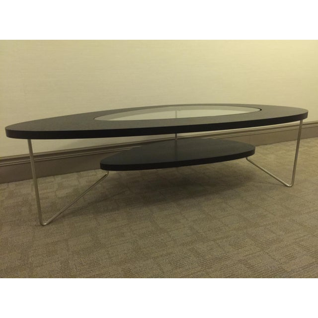 Modern Oval Wood & Glass Coffee Table - Image 2 of 7