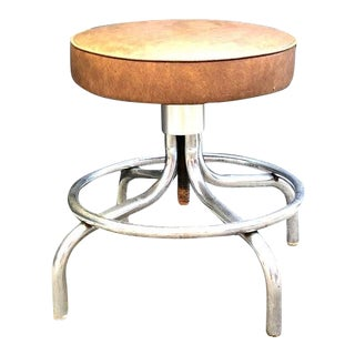 1950s Mid Century Industrial Chrome Adjustable-Height Swivel Stool For Sale