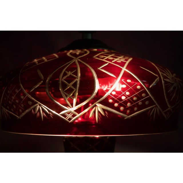 Mid-Century Modern Red Glass Table Lamp With Brass Base, France, 1950s For Sale - Image 3 of 9