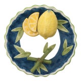 Image of Trompe l'Oeil Decorative Lemon and Bamboo Scalloped Plate For Sale
