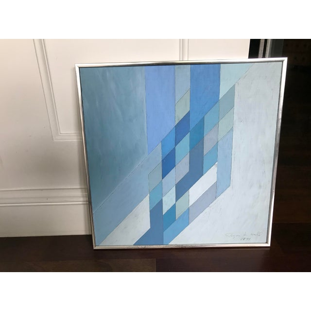 1970s Vintage Abstract Blue Geometric Painting For Sale - Image 10 of 10