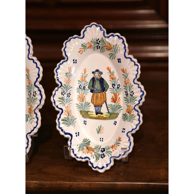 Henriot Quimper Pair of 19th Century French Faience Oval Wall Plates Signed Henriot Quimper For Sale - Image 4 of 11