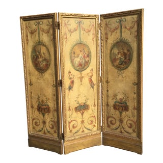 19th Century Vintage Oil Painting French 3-Panel Room Divider For Sale