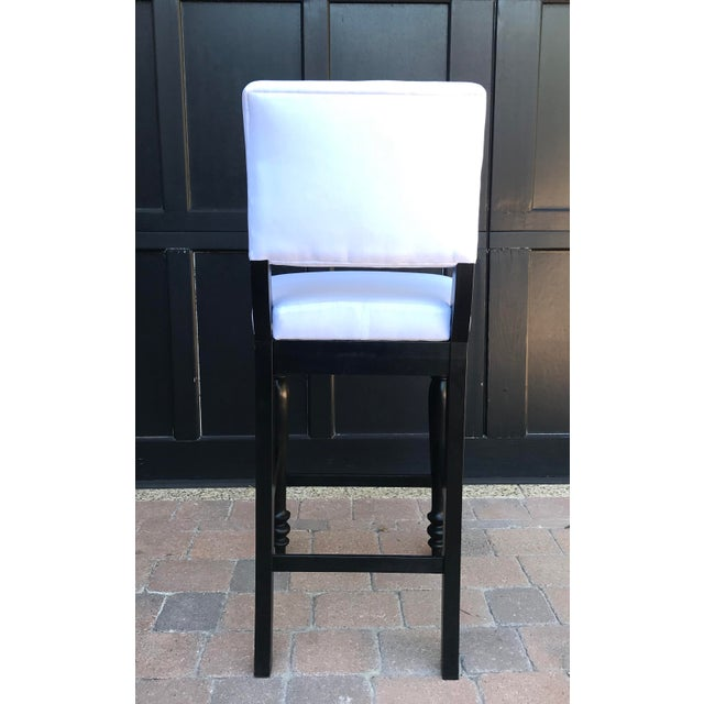 Black Black Oak Counterstool With Carolina Irving Patmos Stripe Reverse Slipcovers - Set of 4 For Sale - Image 8 of 13