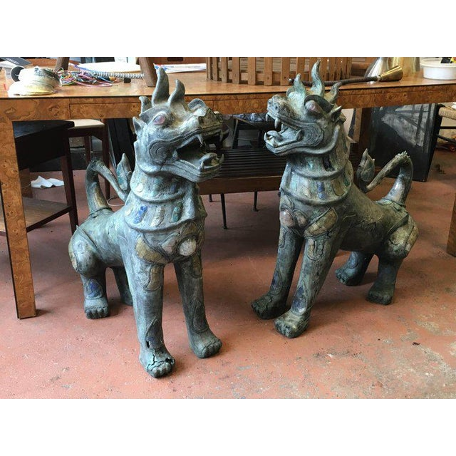 Gold Pair of Antique Bronze Thai Foo Dogs With Amethyst and Rose Quartz From the Estate of Tony Duquette For Sale - Image 8 of 8
