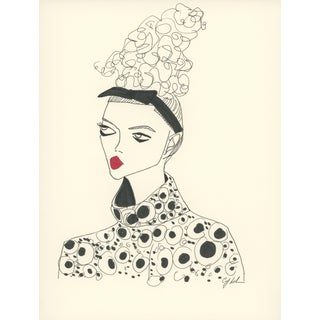 """2010s Original Illustration, """"Big Eyes, Big Hair and a Red Pout"""" by Carly Kuhn"""