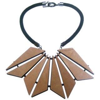 Emporio Armani Geometric Leather Tile Statement Necklace For Sale