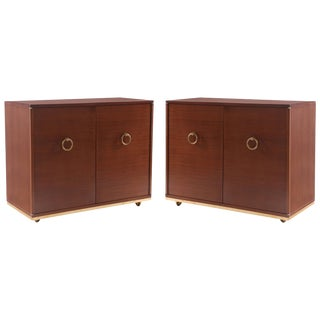Pair of Striped Mahogany & Brass Chests For Sale