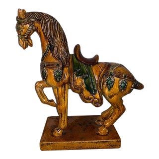 Early 20th Century Chinese Pottery Horse Sculpture-San Cai Glaze For Sale