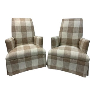 Upholstered Armchairs With Waterfall Skirts - a Pair For Sale