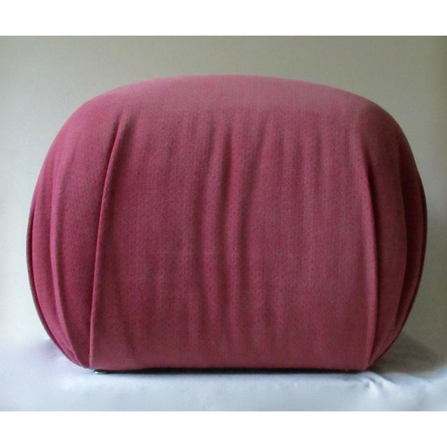1980s C1988-89 Mid-Century Modern, Karl Springer Attr. Souffle' Pouf Ottoman For Sale - Image 5 of 13