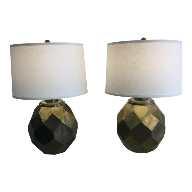 1977 Faceted Chapman Brass Lamps - a Pair - Image 1 of 8