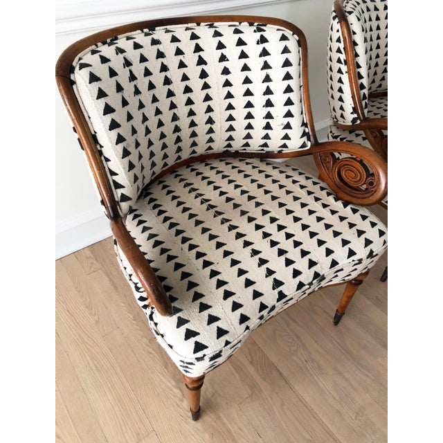 Vintage Black & White Upholstered Arm Chairs - A Pair For Sale - Image 11 of 13