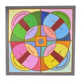 """Image of 1960's Mid-Century Modern Abstract Painting """"Abstract Mandala I"""" Dick Fort Chicago For Sale"""