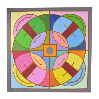 "1960's Mid-Century Modern Abstract Painting ""Abstract Mandala I"" Dick Fort Chicago For Sale"