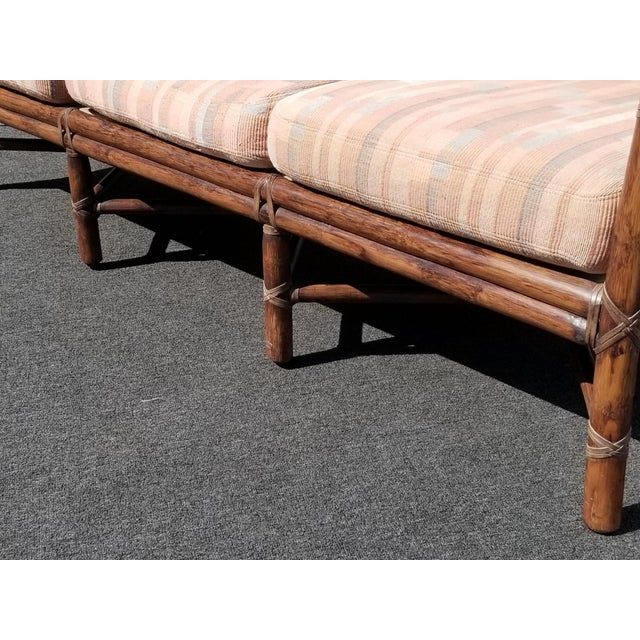Vintage McGuire Furniture Company Rattan Sofa With Leather Rawhide Ties For Sale - Image 9 of 13
