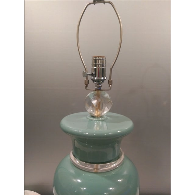 Aqua Colored Ceramic Lamps - A Pair - Image 5 of 8