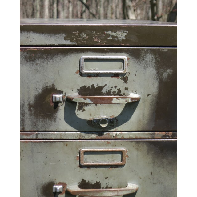 Vintage Industrial Metal File Cabinet For Sale In New York - Image 6 of 11