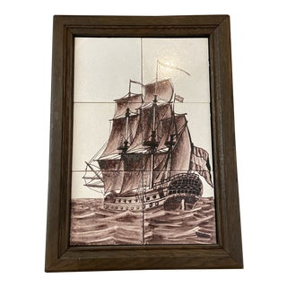 20th Century Framed Dutch Tile Painting of Gallion For Sale