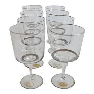 1969 Block Crystal 'Chateau D'Argent' Platinum Wine Glasses - Set of 8 For Sale