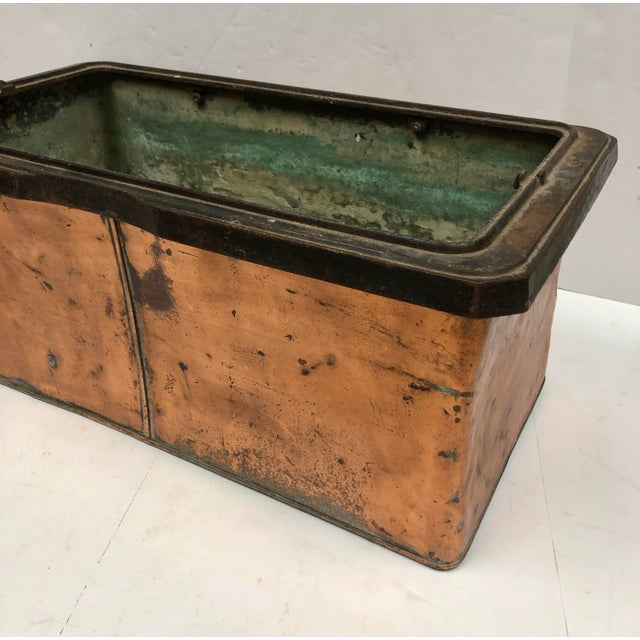 Metal 1930s Vintage French Rectangular Copper Planter For Sale - Image 7 of 9