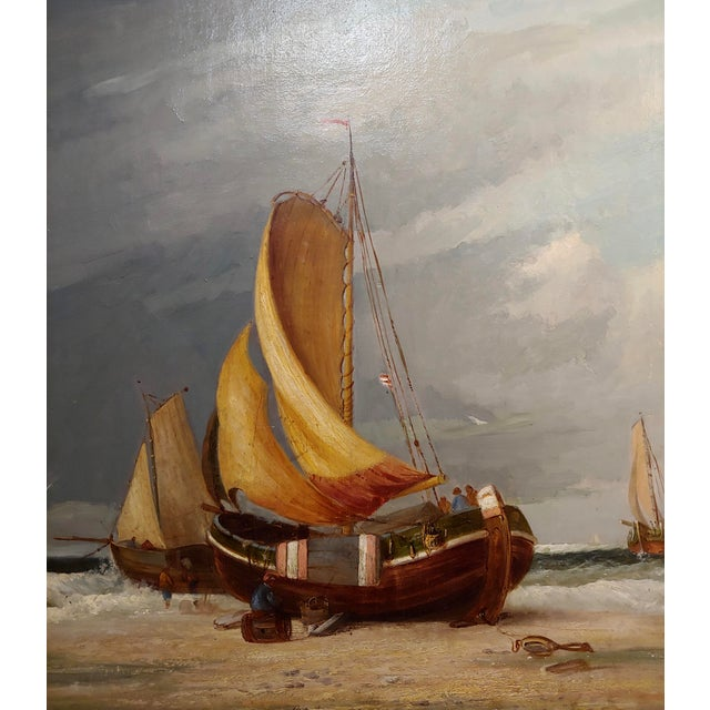 "19th Century 19th Century ""Fishing Boats"" Large Oil Painting by C.H. Cook, 1878 For Sale - Image 5 of 12"