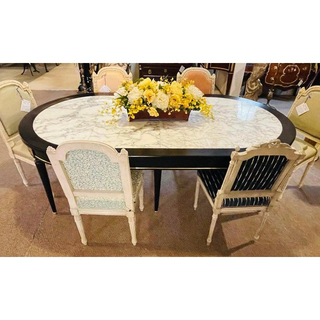 Hollywood Regency Jansen Style Ebony Center Dining Table Marble Top French For Sale In New York - Image 6 of 12