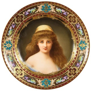 """Rare and Exceptional Royal Vienna Porcelain Plate of """"Nadia"""" by Wagner For Sale"""