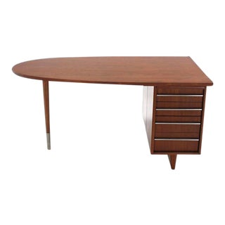 Vintage Mid Century Unusual Oval Shape Walnut Partners Desk For Sale