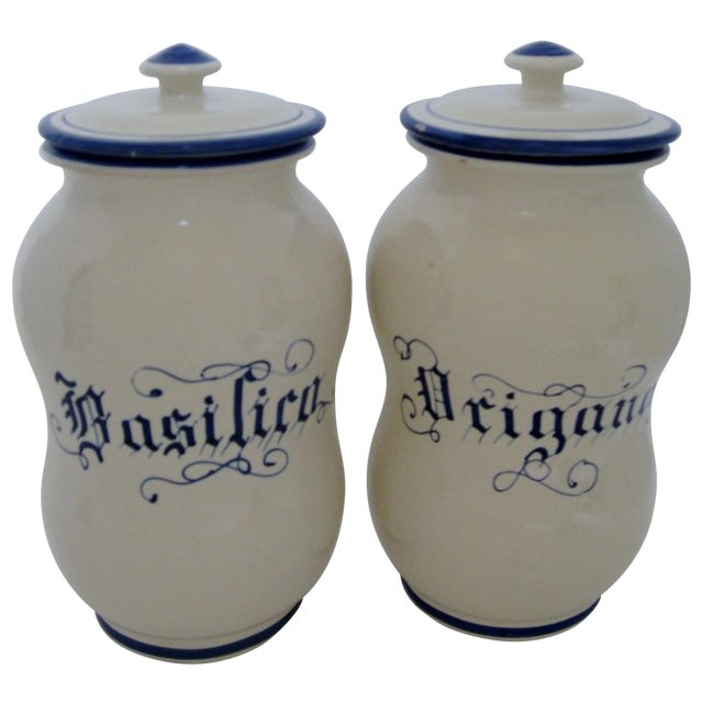 Ceramic Kitchen Canisters - A Pair For Sale