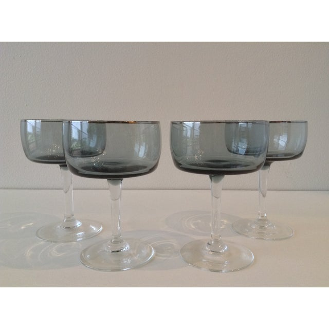 Silver Rimmed Smoke Blue Champagne Coupes - S/4 - Image 7 of 7