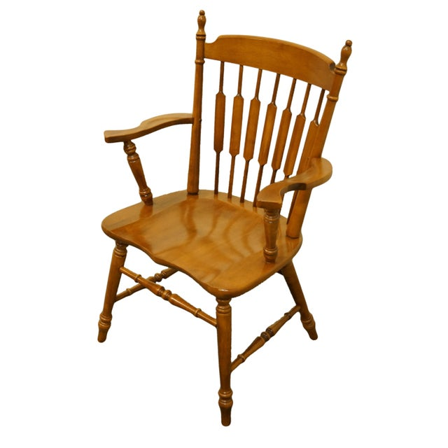 American Tell City Maple Colonial Cattail Back Arm Chair For Sale - Image 3 of 9