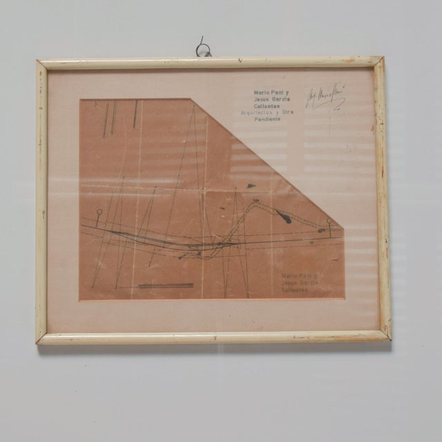 Wood Art Architectural Sketch by Mario Pani and Jesus Garcia Collantes 1947 For Sale - Image 7 of 11
