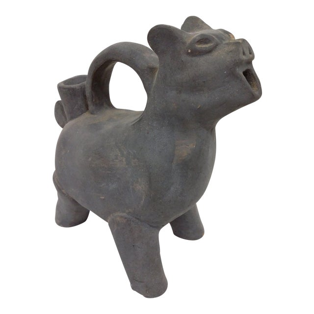 Antique Asian Gray Earthenware Animal Vessel For Sale