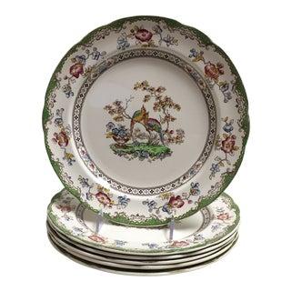 Spode Copeland Scalloped Bird Motif Dinner Plate - Set of 6 For Sale