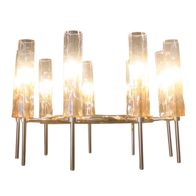Eight Light Rose Gold Glass Chandelier - Image 1 of 7