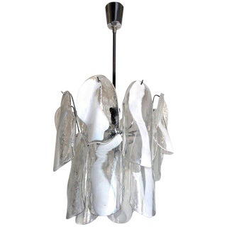 Mazzega Murano Textured White Clear Glass Panel Chandelier For Sale