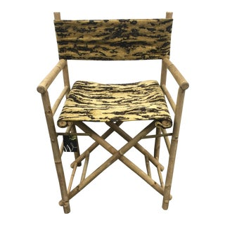 Schumacher Fabric Folding Safari Chair For Sale