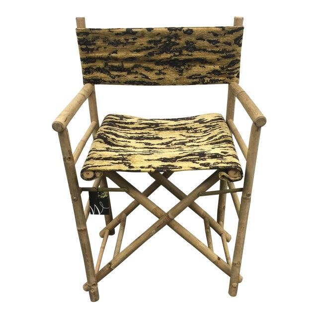 Schumacher Fabric Folding Safari Chair For Sale