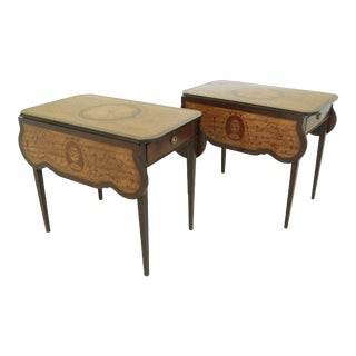 Pair Highly Inlaid Adams Design Pembroke Tables For Sale