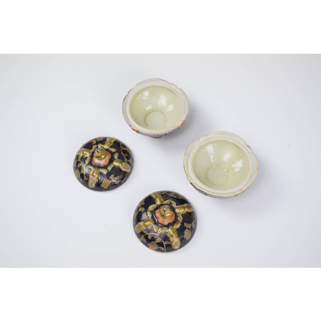 Pair of antique porcelain and gold leaf decorative trinket, pill or jewelry boxes / dishes of Satsuma ware from the Dai...