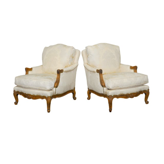 Louis XV Style Walnut Bergeres - Pair - Image 1 of 8