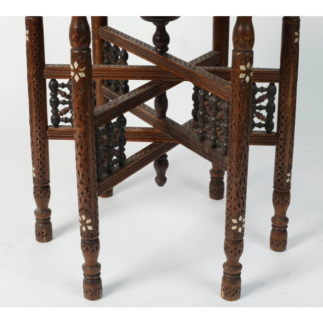 Moroccan Copper Tray Table With Folding Base For Sale In Los Angeles - Image 6 of 11
