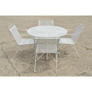 Mid Century Modern Wrought Iron Patio Garden Dining Set- 5 Pieces Preview