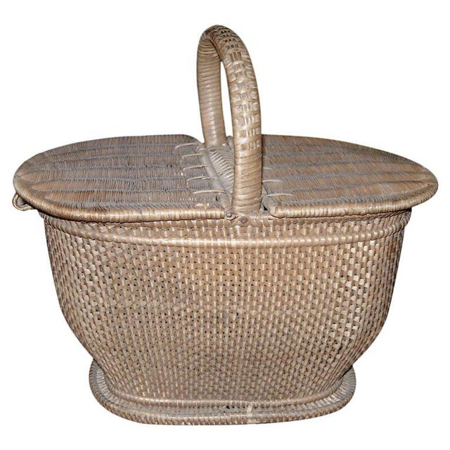 Contemporary Charming Handwoven Nantucket Style Basket For Sale - Image 3 of 3