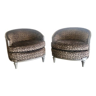 1940s Vintage Cut Velvet & Hand Painted Accent Chairs- A Pair For Sale