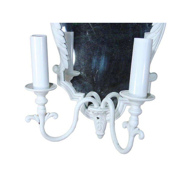 French Pair of French Painted Bronze Mirrored Sconces For Sale - Image 3 of 3