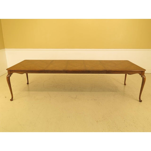 Baker Furniture Company 1970s Queen Anne Baker Walnut & Oak Dining Room Table For Sale - Image 4 of 12